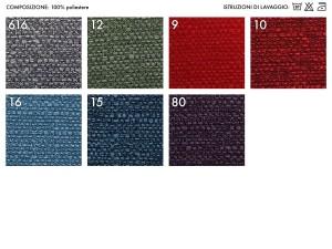 Colori disponibili per le poltrone relax e anziani con rivestimento in tessuto ANTIGOCCIA MALIBU
