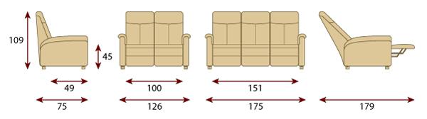 misure divano 2 3 posti basato su poltrona relax piccola