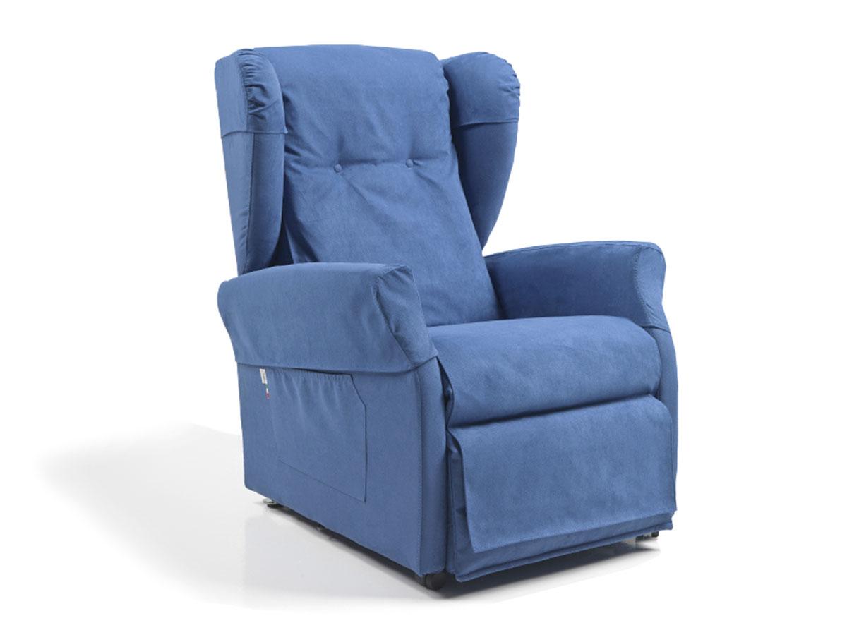 poltrona per anziani con rotelle con kit copri poltrona blu