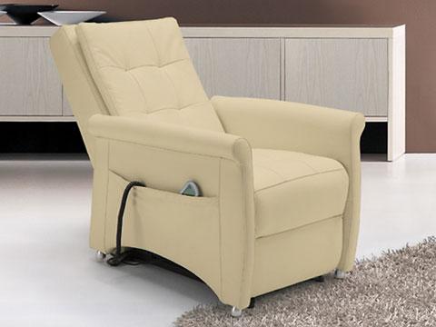 poltrona relax massaggiante shiatsu bianca con schienale reclinato