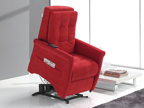 poltrona relax massaggiante shiatsu rossa con alzapersona su
