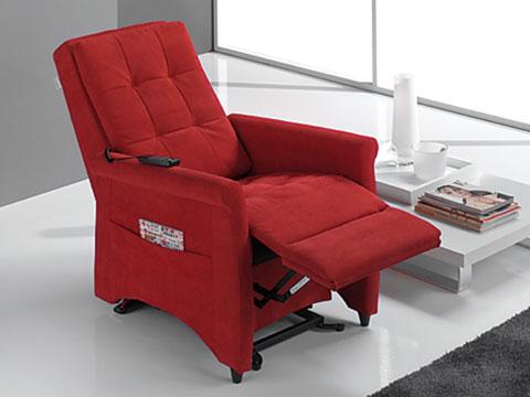 poltrona relax massaggiante shiatsu violetta rossa schienale reclinato e pediera alzata