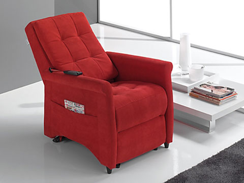 poltrona relax massaggiante shiatsu violetta rossa schienale reclinato