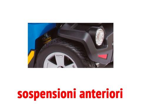 Il dettaglio delle sospensioni anteriori dello scooter per anziani disabili Libero LX