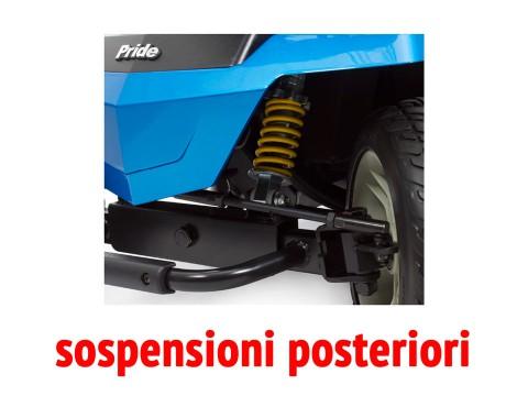 Vista in dettaglio delle sospensioni posteriori dello scooter per anziani disabili Libero LX